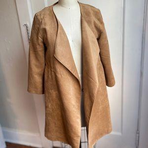 Faux suede 3/4 sleeve drape coat